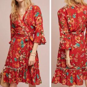 Anthro Farm Rio Kenzie Wrap red floral dress Large
